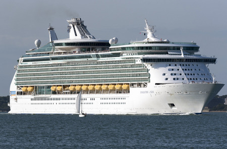 Cruise ship Navigator of the Seas underway on Southampton Water England UK. August 2017