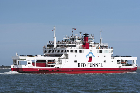 The Solent southern England UK. August 2017. Passenger and vehicle ferry Red Osprey underway to the Isle of Wight