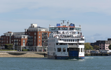 The St Clare a roro ferry departing Portsmouth bound for the Isle of Wight. Portsmouth England UK. August 2017