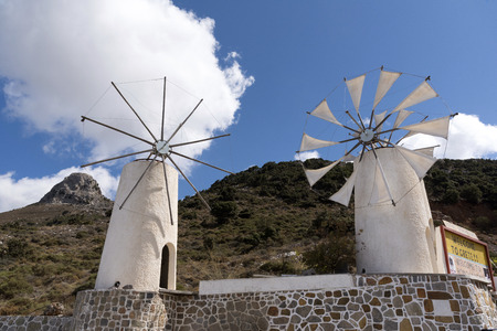 Windmil on the road through Ano Kera towards the Lasithi plateau, Crete, Greece, October 2017