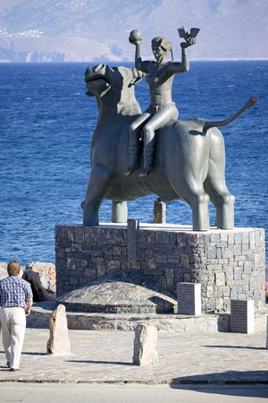 The Abduction of Europe sculpture on the seafront in Agios Nikolaos, Crete, Greece, October 2017