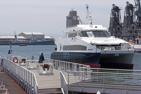 Cape Town  waterfront Western Cape South Africa. December 2017. The Sikhululekile a passenger ferry which operates to Robben Island from the Nelson Mandela Gateway.