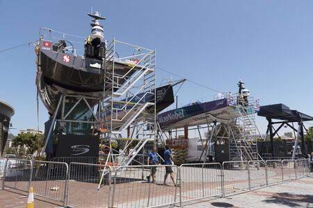 Cape Town waterfront South Africa. December 2017. Volvo Ocean Race. Racing yacht AkzoNobel on stilts during preparation for racing 新聞圖片