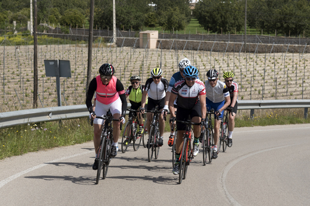 Binissalem, Majorca Friday 20 April 2018. Riders from the clubs of Dorking and Redhill UK are joined by cycling holiday guides. Ggroup are passing a vineyard as they approach the town. Picture: Peter Titmuss/ Alamy Live News Editorial