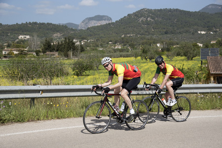 Binissalem, Majorca Friday 20 April 2018. Riders from Redhill Cycling Club. Surrey UK   Passing Majorcan countryside at Binissalem. Picture: Peter Titmuss/ Alamy Live News