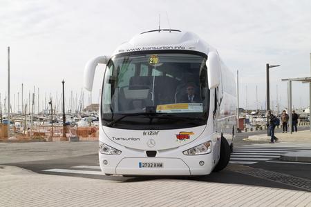 Porto Pollensa, Mallorca, Spain. 2018. A public service bus at the bus and coach station in Porto Pollensa, Mallorca, Spain