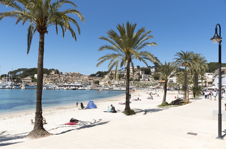 Port de Soller, Mallorca, Balearic Island, Spain. 2018. The seafront and harbour at Port de Soller a popular holiday resort in Mallorca.