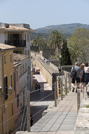 Alcudia, Mallorca, Balearic Island, Spain. 2018. The medieval walls and Cami de Ronda walkway around the old town quarter of Alcudia. Editorial