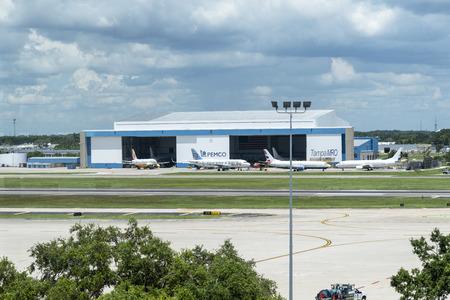 Aircraft maintenance hangers at Tampa International Airport, Tampa, Florida, USA