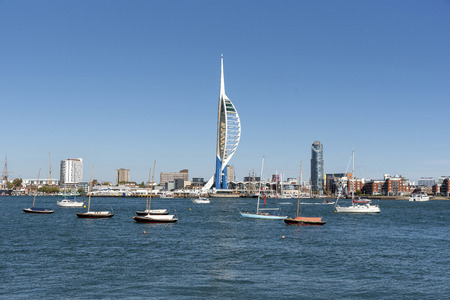 Waterfront of Portsmouth, viewed acroos the Harbour from Gosport, Hampshire UK