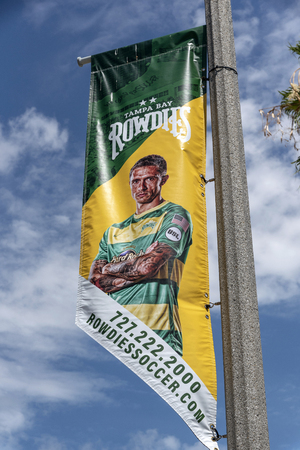 Tampa Bay Rowdies flag on a lampost in St Petersburg, Florida, USA