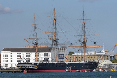 HMS Warrior an iron hulled aroured frigate museum ship on the quay in Portsmouth, England UK