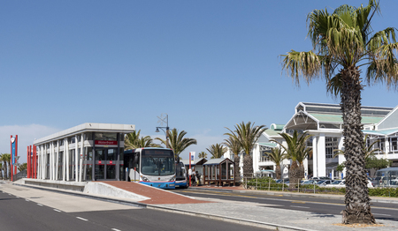 Cape Town, South Africa. The Myciti bus service stop on the V&A Waterfront