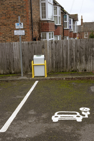 Parking bay for recharging electric vehicles. Parking charges apply here in Tenterton, Kent, England, UK