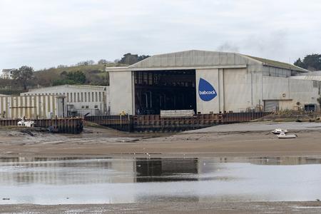 The Babcock international Group Marine Division shipyard on the River Torridge, at Appledore, North Devon, England, UK Editorial