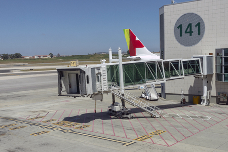Jetway equipment used for passengers boarding and alighting aircraft. 에디토리얼