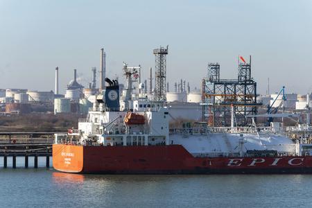 Fawley, Southampton, England, UK. LPG tanker unloading.