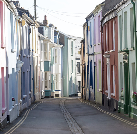 Appledore, North devon, England, UK. February 2019. Very narrow street of terraced homes in this popular seaside Devonshire town in winter