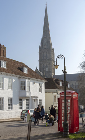 Salisbuury, Wiltshire, England, UK. February 2019. Salisbury Cathedral viewed from Coristers Square.