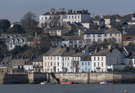 Appledore, North Devon, England, UK. March 2019.  The small riverside town of Appledore overlooking the quayside area and the River Torridge. 에디토리얼