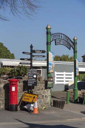 Lynton, Devon, England, UK. March 2019. The Lynton & Lynmouth cliff railway  entrance gateway for the top station.