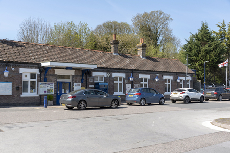Great Missenden, Buckinghamshire, England, UK. April 2019. Exterior view of the Great Missenden railway station and forecourt which may become impacted by the HS2 development.