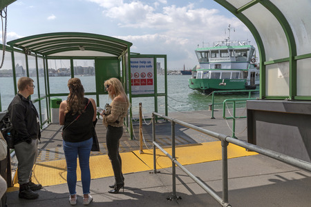 Portsmouth, England, UK. May 2019. Passengers waiting for the Gosport ferry which operates between Portsmouth and Gosport in Hampshire