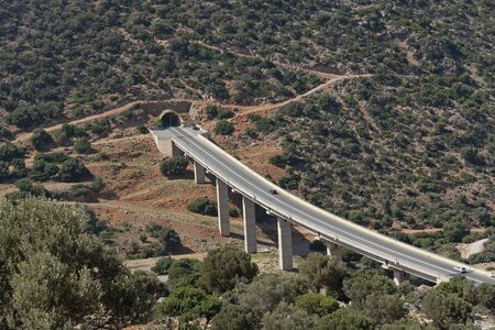 Crete, Greece, June 2019. An overview of the E75 Highway between Malia and Heraklion on the northern coast of Crete.