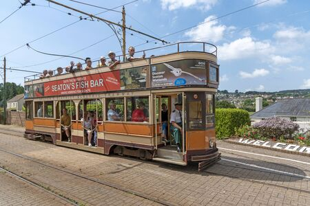 Colyton, East Devon, England, UK. July 2019. The Seaton Tramway station at Colyton, end of the line for the service from Seaton, Devon. The number 10 tramcar arriving