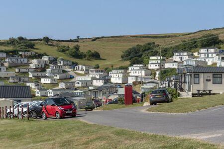 Beer, Seaton, Devon, England, UK. July 2019.  Caravan park at Beer Head on high ground above the seaside resort of Beer. Editorial