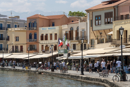 Chania, Crete, Greece. June 2019. The busy eating and shopping area around the Venetian Harbour of Chania, Crete