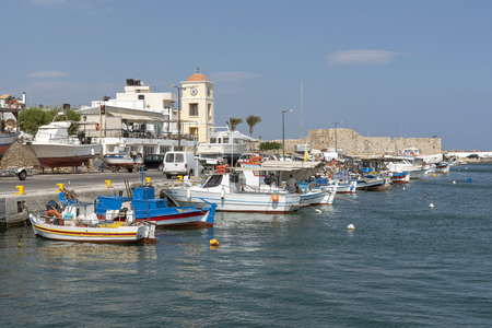 Ierapetra, Crete, Greece. June 2019. Colourful fishing boats in the harbour of this Cretan town, Ierepetra southern Crete.