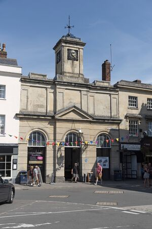 Devizes, Wiltshire, England, UK. August 2019.  Entrance to the covered market on The Market Place in this old English market town