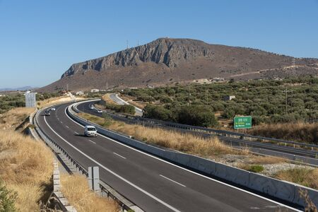 Heraklion, Crete, Greece. October 2019. New opened National Road, the A90, E75 dual carriageway section between Heraklion and Malia, heading towards Agios Nikolaos.