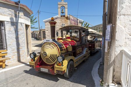 Vrouchas, Crete, Greece. October 2019.  A tourist road train in the mountain village of Vrouchas near Plaka, Crete. On route to Seles, the final stop. Editorial