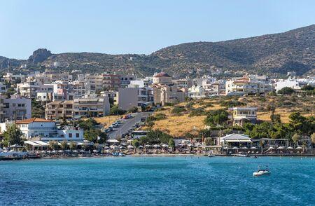 Agios Nikolaos, eastern Crete, Greece. October 2019.  The Ammoudi Beach at Agios Nikolaos, Eastern Crete,