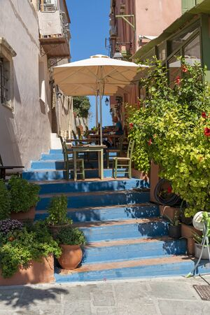 Rethymno, Crete, Greece. October 2019. A restaurant cafe, bar in the Old Town area of Rethymno, Crete Editorial