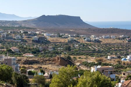 Gouves, Heraklion, Crete, Greece. October 2019. Overview of a residential and farming area, mainly olive groves at Gouves, Crete
