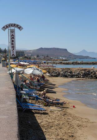 Gournes, Heraklion, Crete, Greece. October 2019.  The Ambrosia Beach at Gournes close to heraklion, Crete.