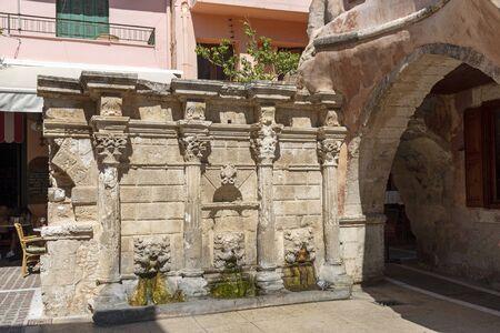 Rethymno, Crete, Greece. October 2019. The ancient Rimondi Fountain in the old town area of Rethymno, Crete