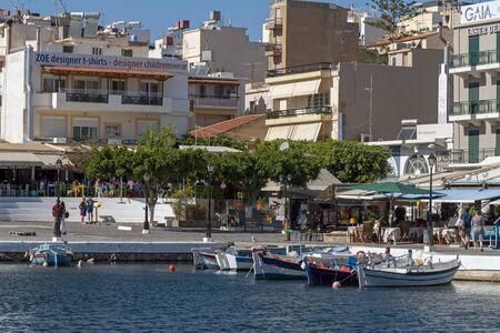 Agios Nikolaos, eastern Crete, Greece. October 2019.   Small boats on the inner lagoon area of the town of Agioa Nikolaos, Eastern Crete. Editorial