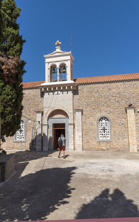 Vrouchas, Crete, Greece. October 2019. Exterior of the village church in the cntre of this small mountain village close to Plaka, Crete