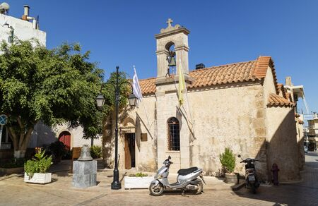 Malia, Crete, Greece. October 2019.  The Agios Dimitrios church in the Old Town of Malia, Crete.