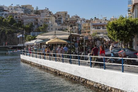 Agios Nikolaos, eastern Crete, Greece. October 2019.  The inner lagoon area of the town of Agioa Nikolaos, Eastern Crete. Editorial