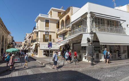 Rethymno, Crete, Greece. October 2019. The town centre and shopping area of Rethymno, Crete.