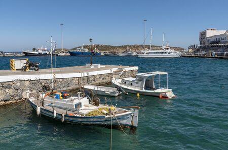 Agios Nikolaus, northern Crete, Greece. October 2019. Small fishing boats on the harbour at Agios Nikolaos a popular Cretan resort