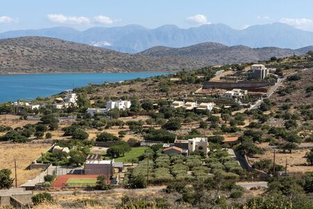 Plaka, Crete, Greece. October 2019. An overview of inland properties and olive groves of Plaka a Cretan coastal town. Editorial