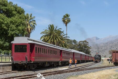 Ceres, Western Cape, South Africa. Dec 2019.  Steam engine and passenger coaches  at  Demeter Station at Ceres Cherry Festival time. Editorial