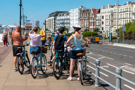 Southsea, Portsmouth, England, UK. 26 May 2020.  Cyclists ignoring the government guidelines on social distancing not being 2 metres apart on the seafront in Southsea UK. Covid-19.