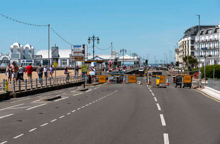 Southsea, Portsmouth, England, UK, May 2020. The seafront road at the Southsea coastal resort closed to traffic during Covid-19 outbreak